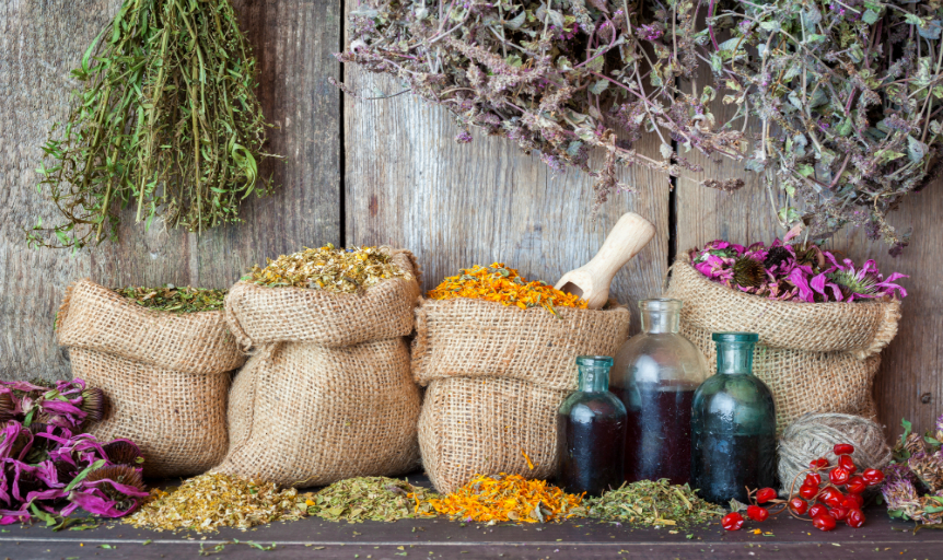 burlap bag oil herb flower
