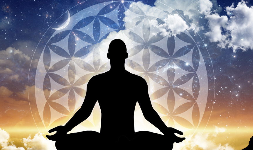 yoga silhouette mandala stars sky danielle lin