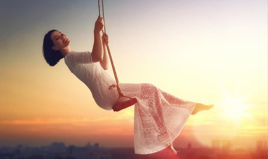 Robin Silverman girl swing sunset